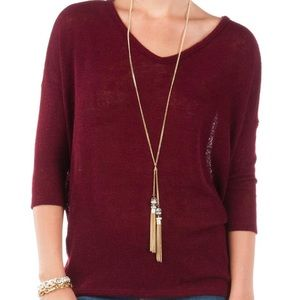 Francescas Burgundy Long Sleeve Dolman Top